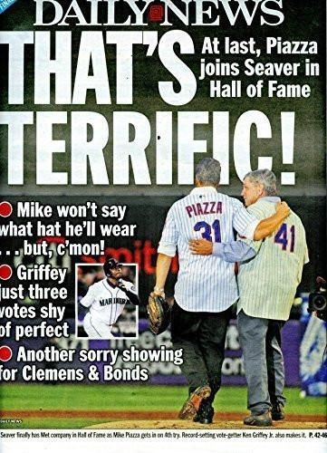 MIKE PIAZZA HOF, NEW YORK METS - NY Daily News Newspaper Thursday, JANUARY 7…
