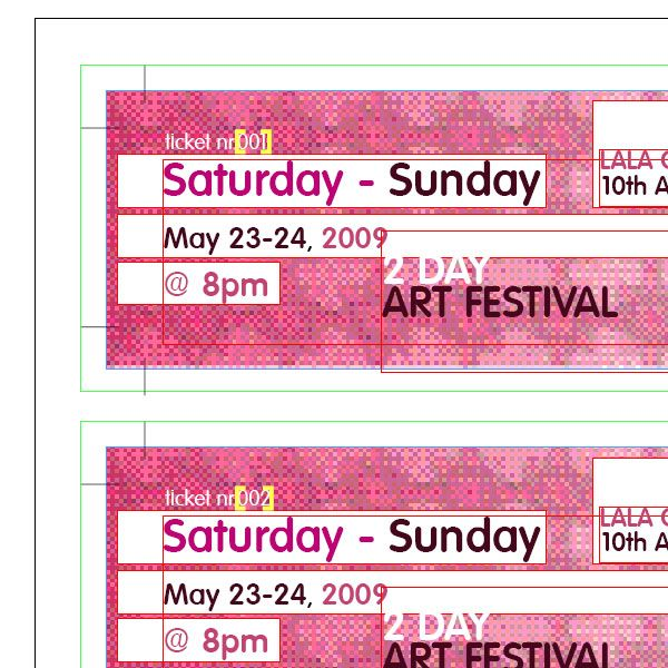tickets with unique numbers in InDesign