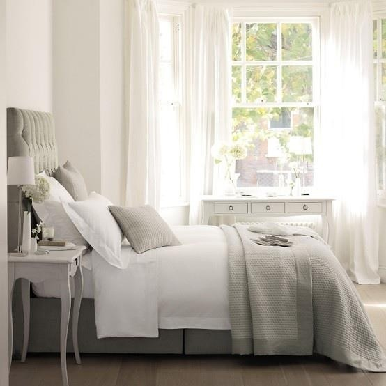 Grey bedroom * like the white curtains against the white walls. I'd include a feature grey wall by the head board