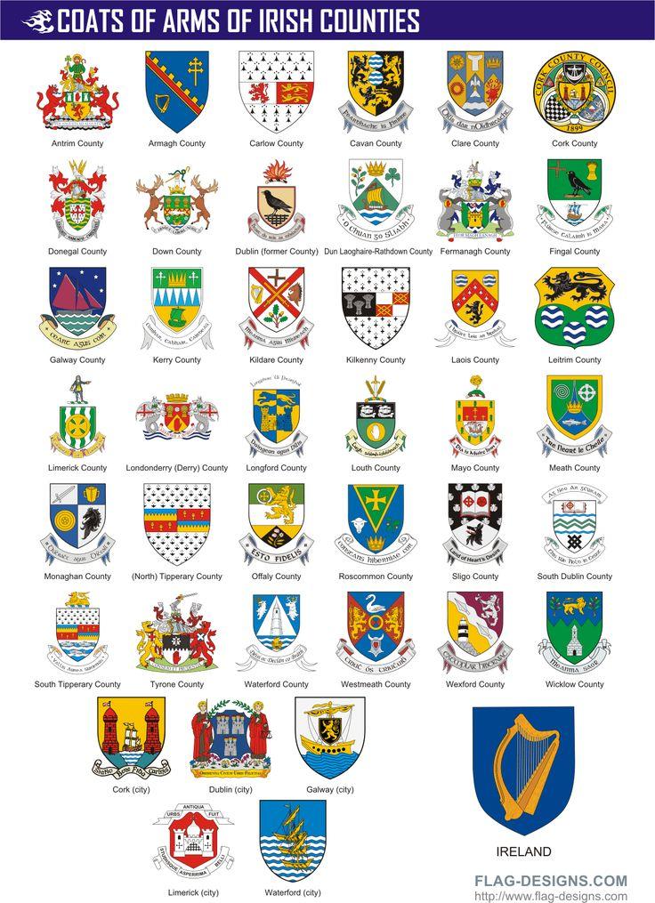 counties of ireland | Irish County Crests / Ireland County Coats of Arms