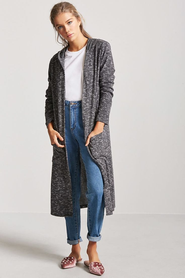 Product Name:Marled Knit Hooded Cardigan, Category:sweater, Price:19.9