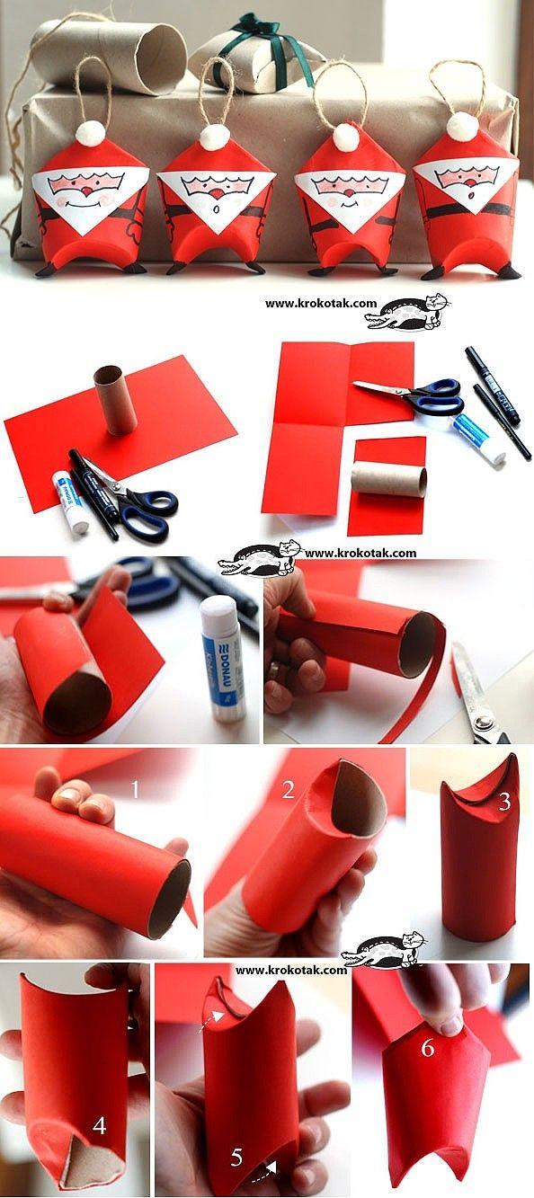 Más ideas para hacer con el rollo de papel de WC: ¡Ornamentos de Papá Noel! #christmas #navidad