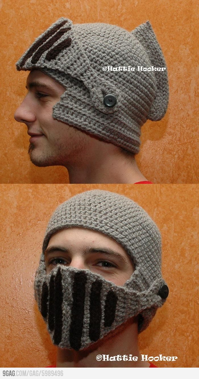 Crocheted Knight Helmet. You know, to battle the minions of cold.