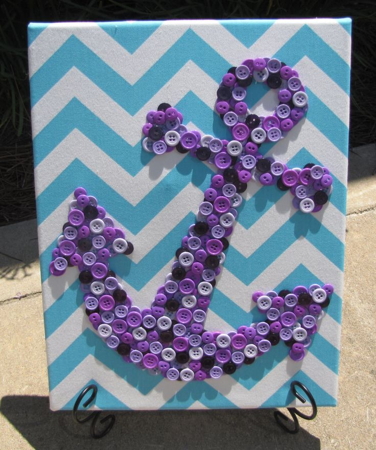 11x14 Purple Button Anchor Art Picture on Aqua Chevron Fabric - pinned by pin4etsy.com