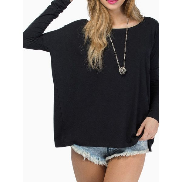 Choies Black Batwing Long Sleeve T-shirt ($14) ❤ liked on Polyvore featuring tops, t-shirts, black, longsleeve tee, batwing tops, batwing t shirt, longsleeve t shirts and long sleeve tees