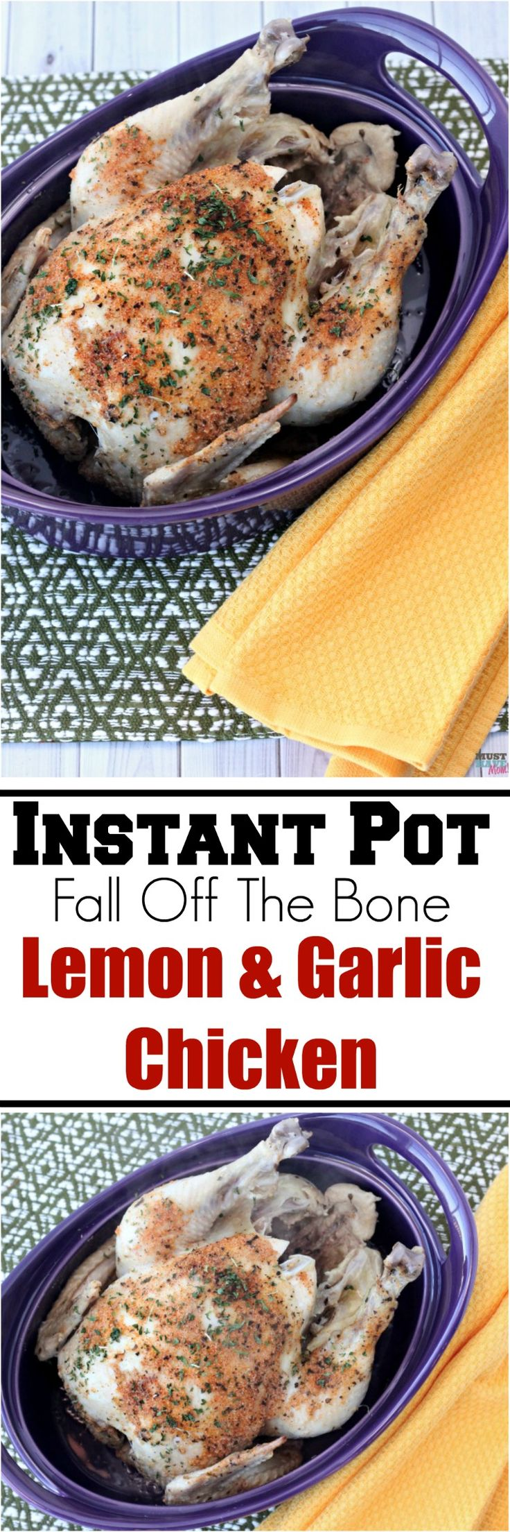Instant Pot fall off the bone lemon and garlic chicken! Cook a whole chicken in 25 minutes in your pressure cooker! Pressure cooker chicken dinner is so quick