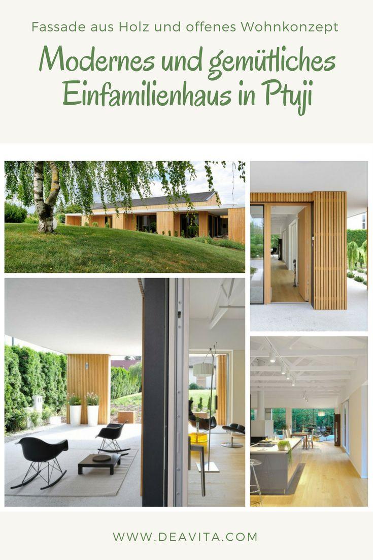 Fassade Aus Holz Und Offenes Wohnkonzept Im Modernen Einfamilienhaus In  Ptuji.
