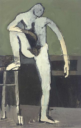 Keith Vaughan (1912-1977), Standing Figure, black ink and gouache, 21.5 x 14 cm