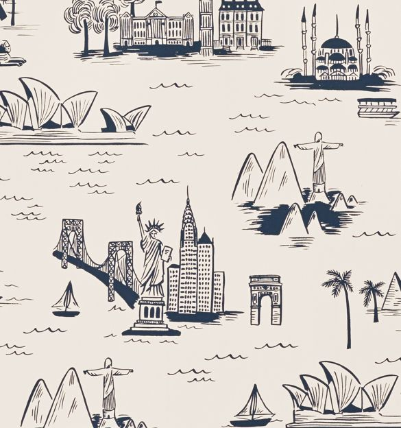 City Toile (Parchment) Screen Printed Wallpaper