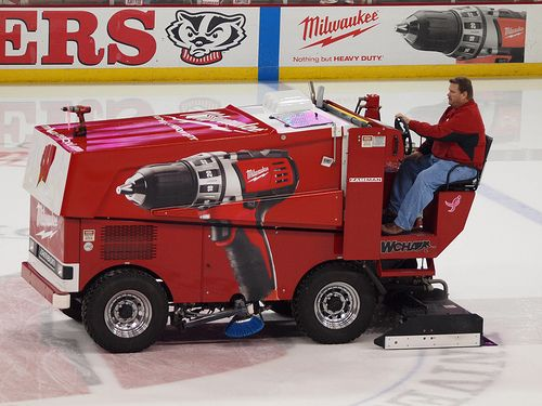 One of Wisconsin's Zamboni ice machines, sponsored by Milwaukee Tools.