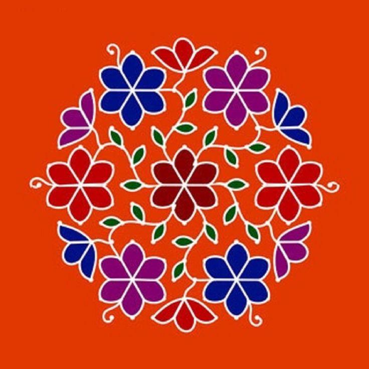 Simple flower dot rangoli design | Rangoli Designs ...