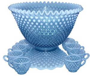 *****Fenton Hobnail Blue Opalescent Punch Bowl Set with 12 Cups and Stand