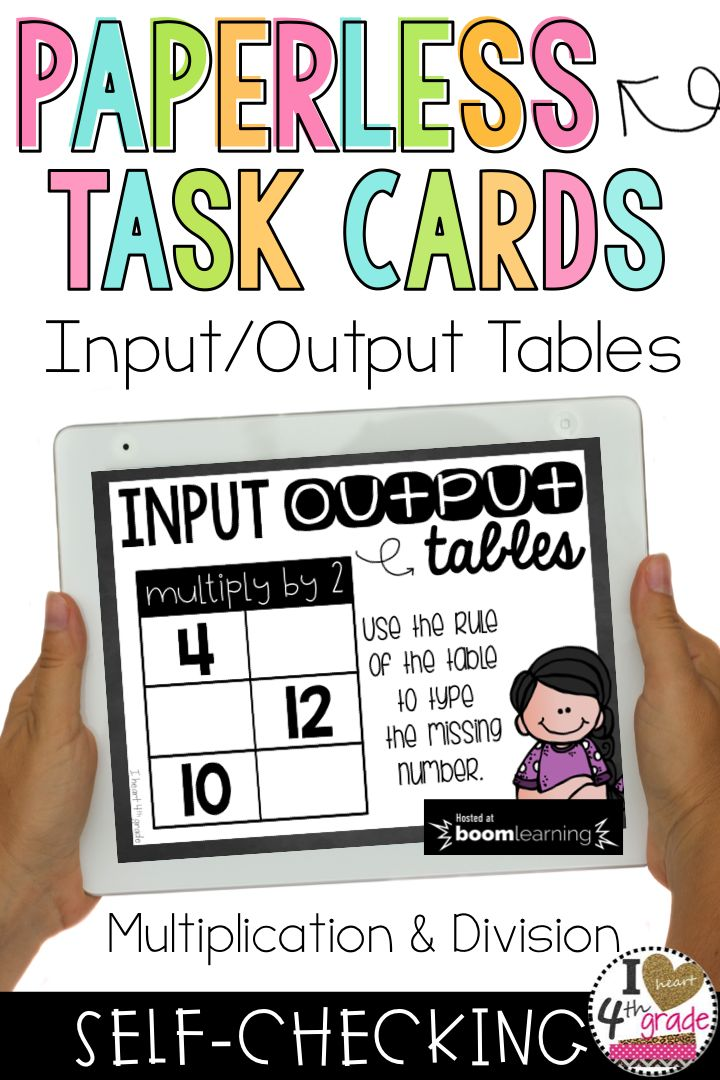 Input Output Tables   Function Tables   3rd grade input output tables   multiplication   division   3rd grade math   Practice input output tables with this set of self-checking task cards hosted on Boom Learning. ($)