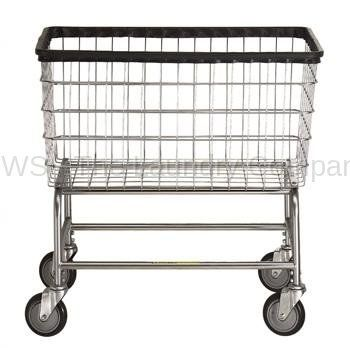 R Large Capacity Rolling Laundry Cart/Chrome Basket P/N 200F Comml Laundry Basket on Wheels for 4 bushels
