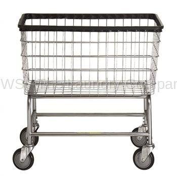R Large Capacity Rolling Laundry Cart/Chrome Basket P/N 200F Comml Laundry Basket on Wheels for 4 bushels