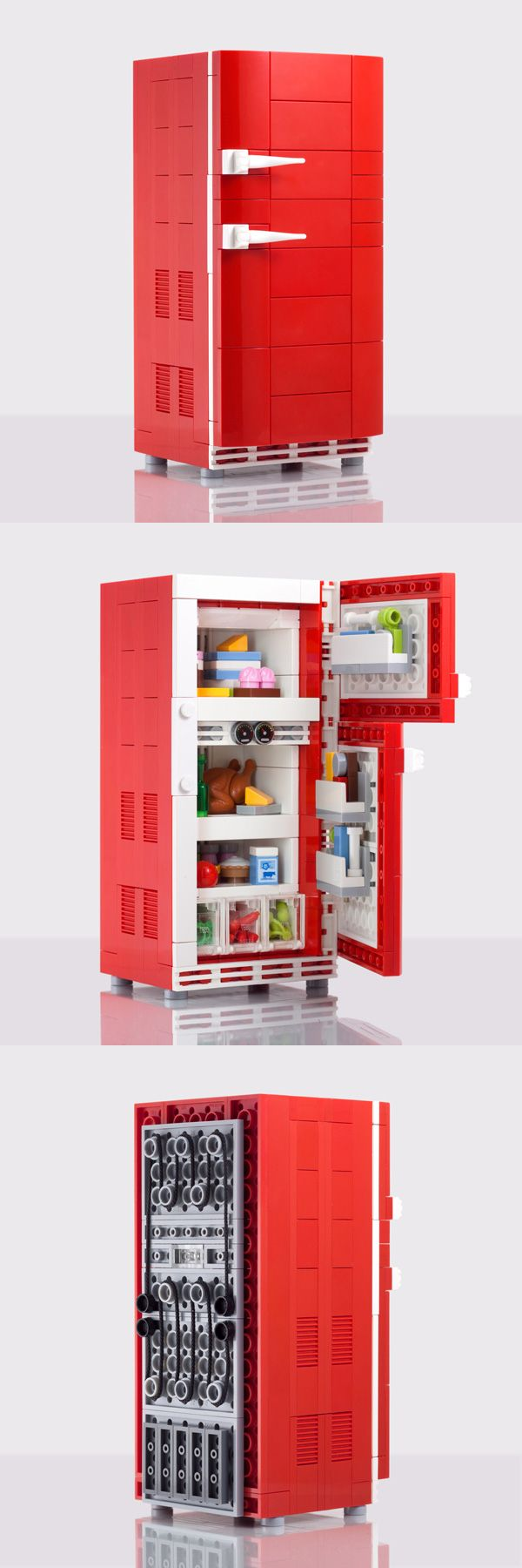 retro refrigerator custom lego kit by chris mcveigh