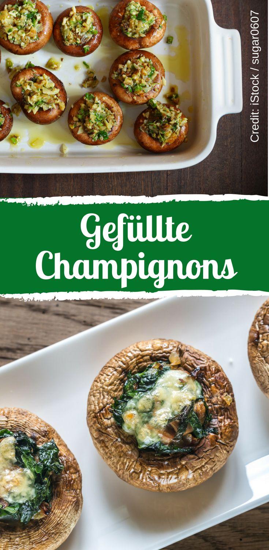 Gefüllte Champignons mit Spinat und Käse sind ideal für eine Diät.   – Wir lieben Pilze.