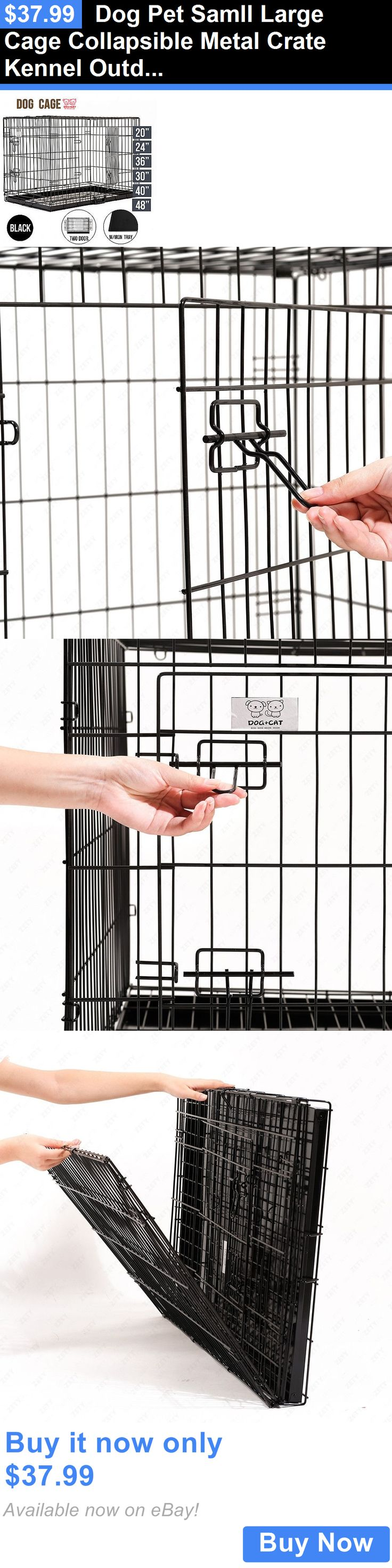 Animals Dog: Dog Pet Samll Large Cage Collapsible Metal Crate Kennel Outdoor House Playpen BUY IT NOW ONLY: $37.99