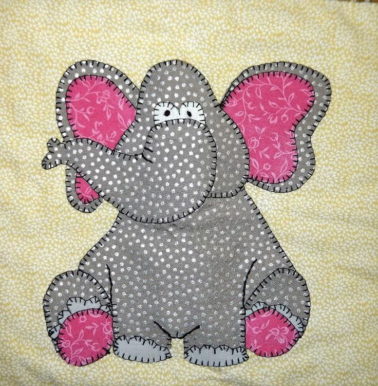 Elephant African Applique Quilt Block Elephant Applique