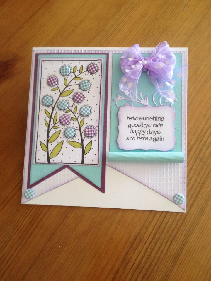 Made at craft class using Woodware stamp Bubble Bloom Carol and Craftwork Cards Candi