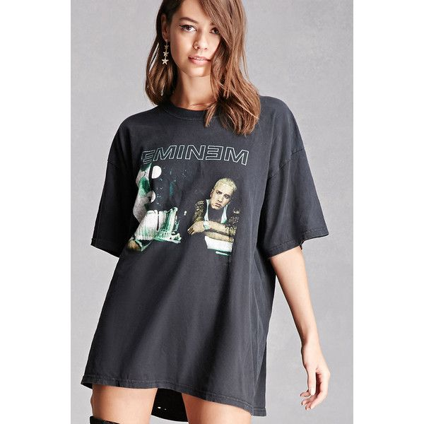 Forever21 Repurposed Eminem Band Tee ($58) ❤ liked on Polyvore featuring tops, t-shirts, black, oversized graphic tee, vintage tees, short sleeve tee, cotton t shirts and short sleeve t shirts