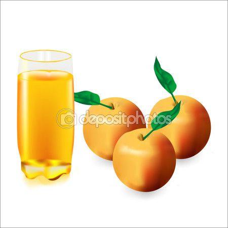 Стакан яблочного сока и три яблока — Векторное изображение © Iva.novi #85840566