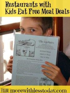 A nice long list of popular restaurants with kids eat free meal deals. Don't forget to take this with you on vacation. Plus, if you have a picky eater, you need this list! It is not so frustrating if their meal was free!