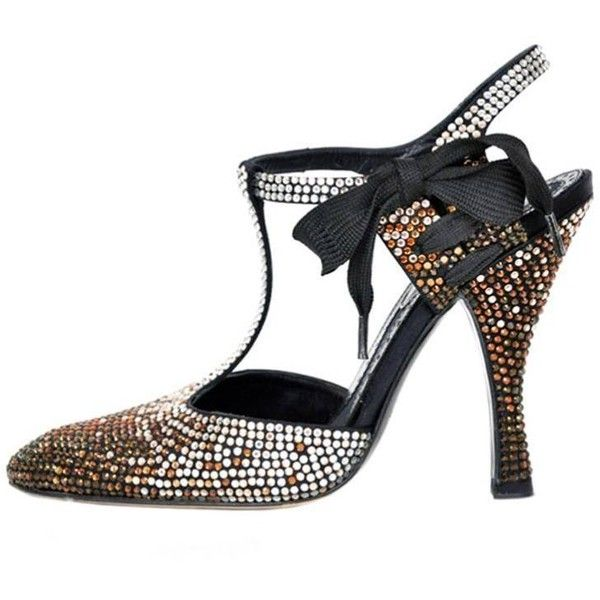 Preowned Tom Ford For Yves Saint Laurent Rhinestone Spectator Shoes 36 ($1,995) ❤ liked on Polyvore featuring shoes, black, holiday shoes, evening shoes, black cocktail shoes, rhinestone shoes and rhinestone evening shoes