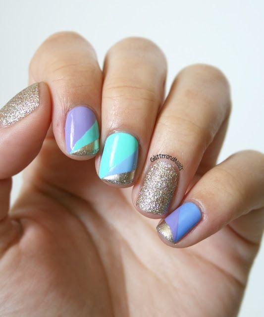 Glitter and Nails: Pastel, Scotch & Paillettes.