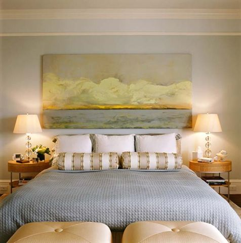 Large ocean painting above bed beach art pinterest Master bedroom art above bed