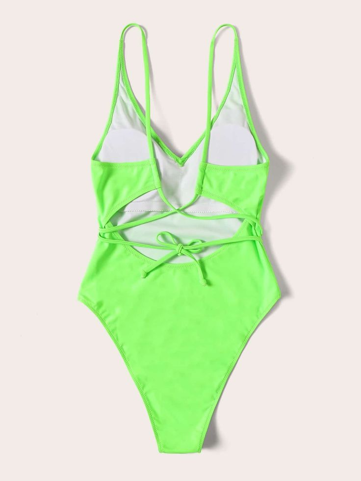 Neon Lime Lace Up High Leg One Piece Swimsuit