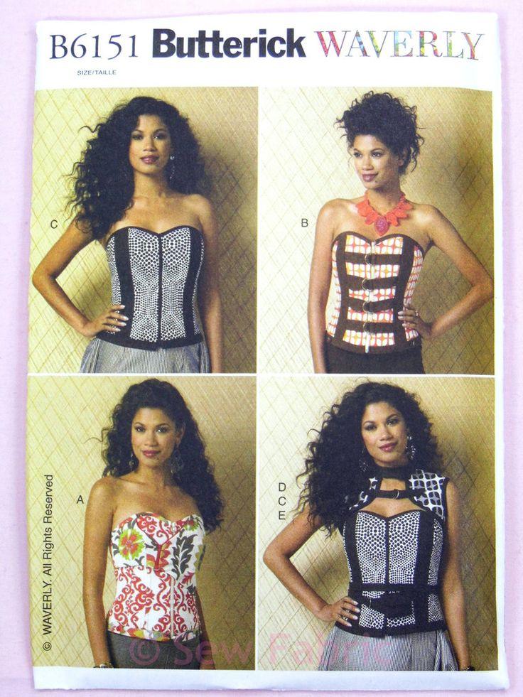Butterick 6151 Sewing Pattern Misses' Boned Corsets Vest Belt & Pocket - Waverly