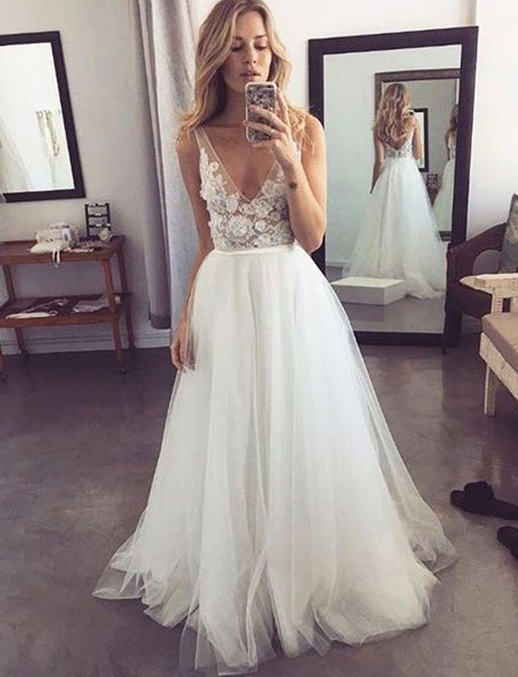Beliebte V-Ausschnitt formell eine Linie Tüll Braut Long Beach Brautkleider,