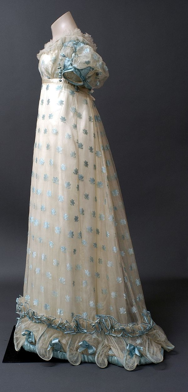 Evening dress, circa 1821, England, the Bowes Museum