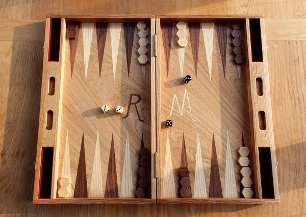 Handmade oak backgammon board inlaid with ash and walnut.