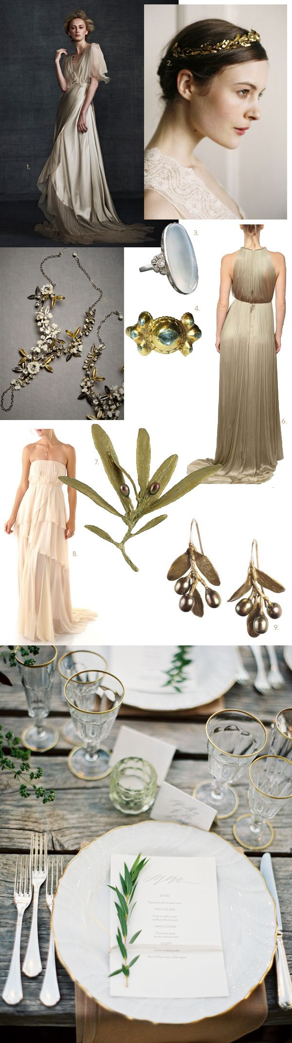 Greek Goddess Wedding Inspiration - Draped gowns, delicate olive-branch accessories, & gold trim. // #Decor #Adornments