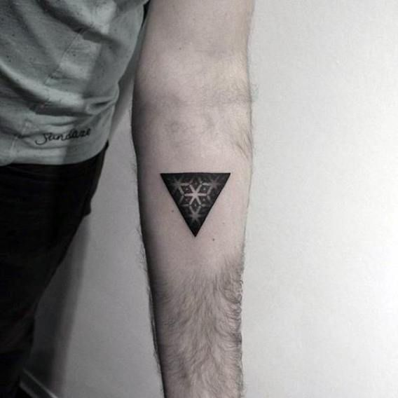 Triangle Star Pattern Guys Dotwork Simple Geometric Tattoo On Forearm Tattoos For Guys Shape Tattoo Mandala Tattoo Design