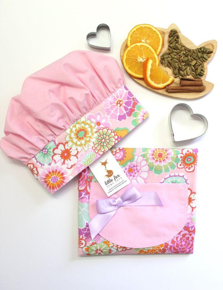 Childrens Aprons, Kids Apron, Toddler Girl Apron, Kids Cooking Gift, Apron Set, Kids Cooking Gift by LittleFoxSewsLots on Etsy