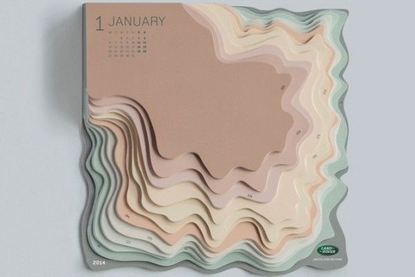 Le DA Zeynep Orbay et l'agence TBWA Istanbul signent ce calendrier journalier 2014 pour le constructeur automobile Land Rover.  Le projet innovant est une version en trois dimensions d'une carte topographique classique où chaque niveau de couleur représente un mois différent de l'année. Le calendrier est censé refléter l'esprit d'aventure de Land Rover. Son terrain de papier comporte des couleurs douces et des tons de terre qui rappellent un paysage montagneux.