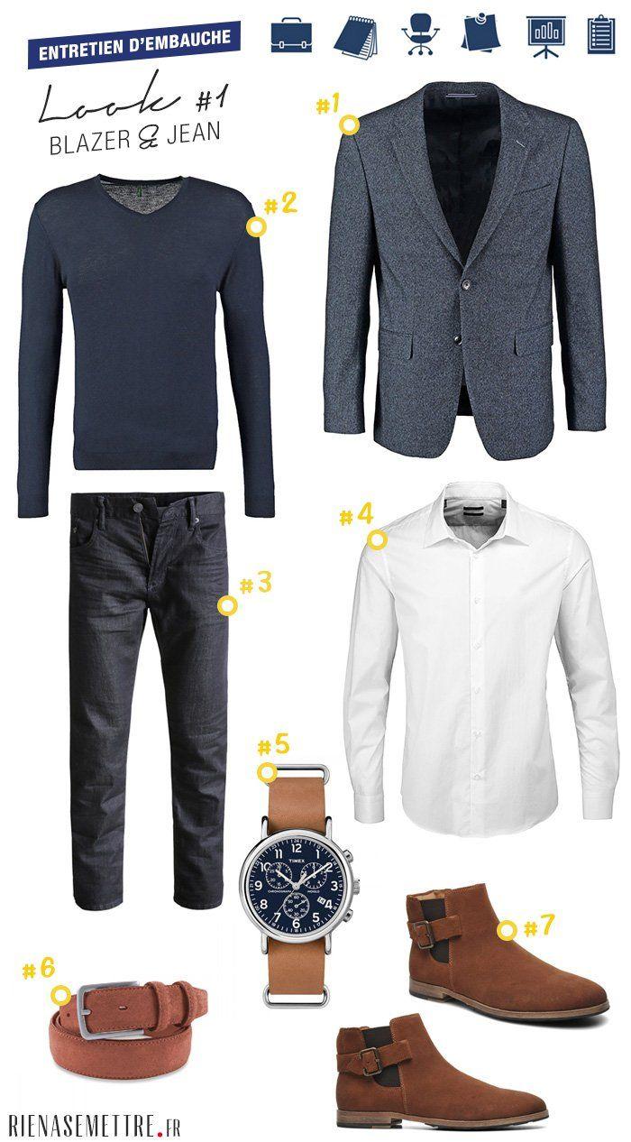 Tenue masculine pour un entretien d'embauche et rendez-vous professionnels - Blazer, chemis blanche, jeans - Look homme chics même sans cravate