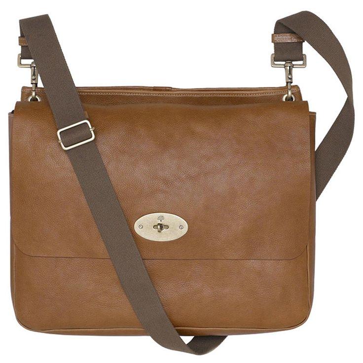Mulberry Natural Leather Messenger Bag Oak for Men