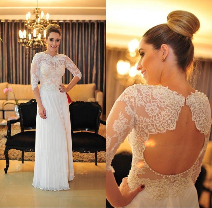 Белые кружевные аппликации летние платья выпускного вечера 2016 шифон линии половина рукава вечернее ну вечеринку платья на заказ халат де вечер Z278