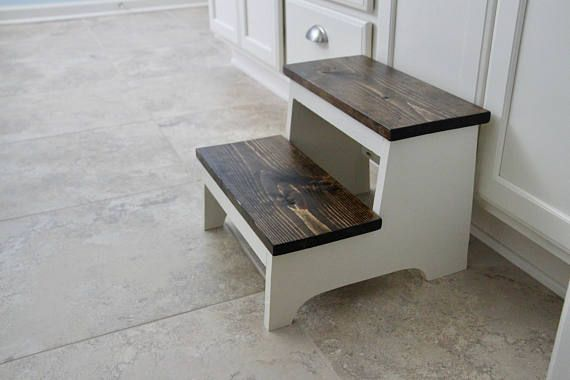 Rustic Step Stool Wooden Step Stool Foot Stool Farmhouse