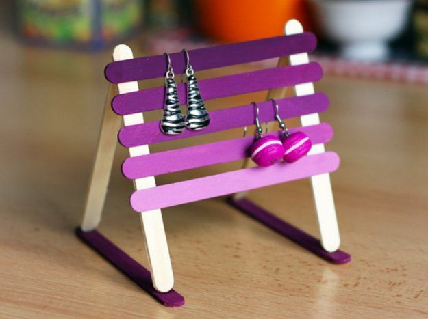 Popsicle Stick Earring Holder | 10 DIY Earring Holder Ideas | Dollar Store Jewelry Organizing Ideas by DIY Ready at http://diyready.com/diy-earring-holder-ideas/