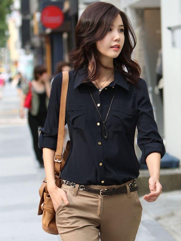 OL Fashion Single-breasted Turn Collar Dark Blue Blouse