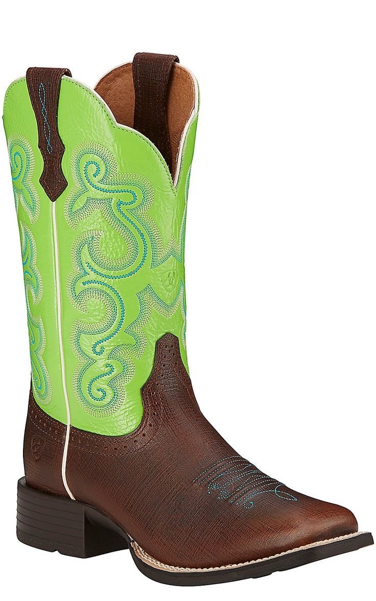 Ariat Quickdraw Women's Scratched Chestnut with Bright Lime Top Square Toe Western Boots | Cavender's