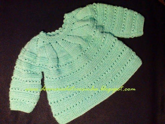 Das Mãos da Teresinha: Casaco de tricô para bebé recém-nascido ( tam. 0 -...