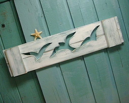 Seagull Wooden Beach House Wall Art Sign Header by CastawaysHall, $49.00