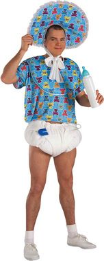 Perfect for a big baby. Blue pin, white diaper, and blue pacifier. One size fits most adults.