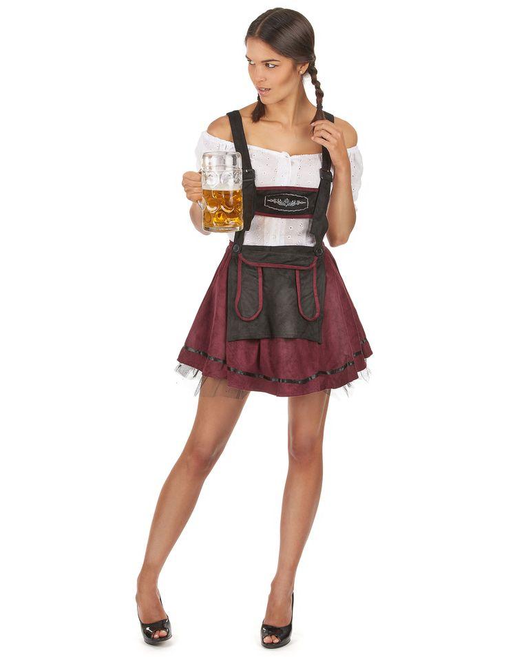 Sexy Bayerin-Kostüm für Damen: Dieses Sexy Bayerin-Kostüm für Damen besteht aus einem Oberteil und einem Rock (der Hut, die Leggings und die Schuhe sind nicht mit inbegriffen).Das Oberteil hat einen sehr weiten...